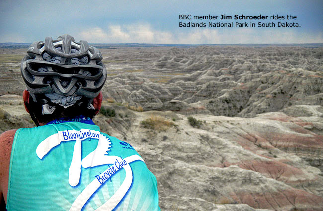 BBC member Jim Schroeder rides the Badlands National Park in South Dakota